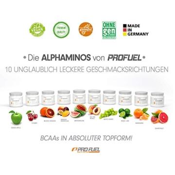 BCAA Pulver (Aminosäuren) sensationeller Geschmack | Aminos 2:1:1 (Leucin, Isoleucin, Valin) Hochdosiert, Vegan | Für Muskelaufbau, Abnehmen & Sport | PROFUEL Alphaminos 300g - KIRSCHE - 5