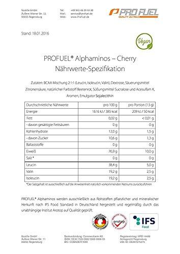 BCAA Pulver (Aminosäuren) sensationeller Geschmack | Aminos 2:1:1 (Leucin, Isoleucin, Valin) Hochdosiert, Vegan | Für Muskelaufbau, Abnehmen & Sport | PROFUEL Alphaminos 300g - KIRSCHE - 6