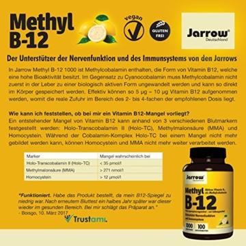 Methyl B12 1000 µg, aktives Vitamin B12 als Methylcobalamin, Lutschtabletten mit Zitronengeschmack, vegan, hochdosiert, Etikett in Deutsch, Englisch und Französisch, Jarrow, 1er Pack (1 x 100 Stück) - 5