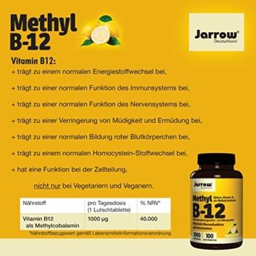 Methyl B12 1000 µg, aktives Vitamin B12 als Methylcobalamin, Lutschtabletten mit Zitronengeschmack, vegan, hochdosiert, Etikett in Deutsch, Englisch und Französisch, Jarrow, 1er Pack (1 x 100 Stück) - 6