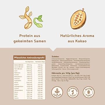 Vegan Protein | SCHOKOLADE | Pflanzliches Proteinpulver mit Reis-, Soja-, Erbsen-, Chia-, Sonnenblumen- und Kürbiskernprotein | 600 Gramm Pulver - 3