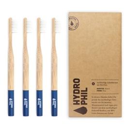 HYDROPHIL nachhaltige Zahnbürste aus Bambus blau extraweich 4er Pack weich - 1