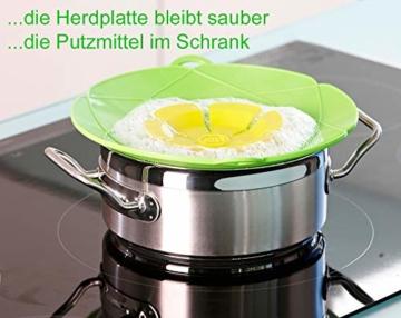 Kochblume - das Original vom Erfinder Armin Harecker L 29 cm Limette   Überkochschutz für Topfgrößen von Ø 14 bis 24 cm   mit Frischhaltedeckel gratis - 2