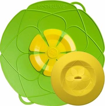 Kochblume - das Original vom Erfinder Armin Harecker L 29 cm Limette   Überkochschutz für Topfgrößen von Ø 14 bis 24 cm   mit Frischhaltedeckel gratis - 1