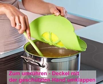 Kochblume - das Original vom Erfinder Armin Harecker L 29 cm Limette   Überkochschutz für Topfgrößen von Ø 14 bis 24 cm   mit Frischhaltedeckel gratis - 5