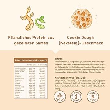 Vegan Protein | COOKIE DOUGH | Pflanzliches Proteinpulver aus gesprosstem Wildreis und Kürbiskernen | 21g Protein pro Portion | 600 Gramm Pulver - 2