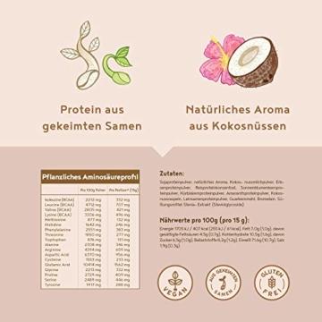 Vegan Protein   KOKOS   Pflanzliches Proteinpulver mit Reis-, Soja-, Erbsen-, Chia-, Sonnenblumen- und Kürbiskernprotein   600 Gramm Pulver - 5