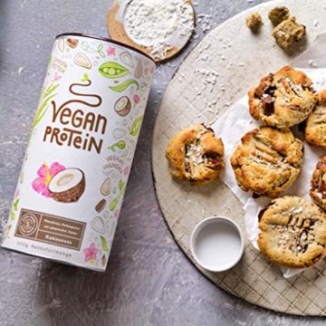 Vegan Protein   KOKOS   Pflanzliches Proteinpulver mit Reis-, Soja-, Erbsen-, Chia-, Sonnenblumen- und Kürbiskernprotein   600 Gramm Pulver - 6