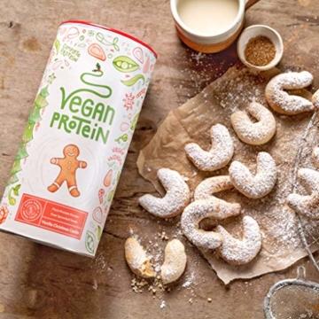 Vegan Protein   VANILLE KIPFERL   Pflanzliches Mehrkomponenten-Proteinpulver u.a. aus gesprosstem Wildreis und Kürbiskernen   22g Protein pro Portion   600 Gramm Pulver - 6