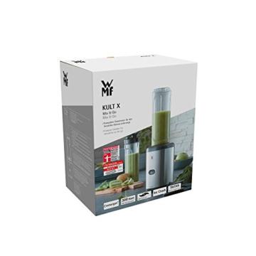 WMF Kult Mix & Go Mini Smoothie Maker, Standmixer, Blender elektrisch, Shake Mixer 300 Watt, Tritan-Kunststoff Flasche - 11