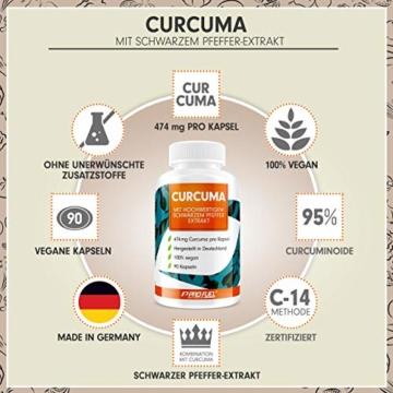 Curcuma Kapseln hochdosiert: EINE Curcuma-Kapsel entählt das Extrakt aus 23.700mg Kurkuma-Pulver - 100% natürliches Curcuma-Extrakt (C14 zertifiziert) + schwarzer Pfeffer-Extrakt - 90 Kapseln - vegan - 3