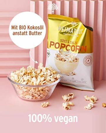 HEIMATGUT® Bio Vegan Popcorn Süß & Salzig   Aus bestem Butterflycorn Popcorn-Mais   Mit Bio Kokosöl & Ohne Butter und Palmöl   8 Popcorn-Tüten à 30g   Glutenfrei & Ohne Künstliche Zusätze (8 x 30g) - 3