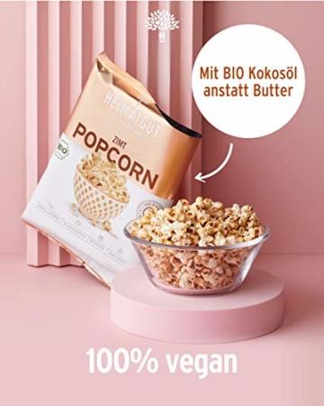HEIMATGUT® Bio Vegan Popcorn Zimt   Aus bestem Butterflycorn Popcorn-Mais   Mit Bio Kokosöl & Ohne Butter und Palmöl   8 Popcorn-Tüten à 30g   Glutenfrei & Ohne Künstliche Zusätze (8 x 30g) - 3