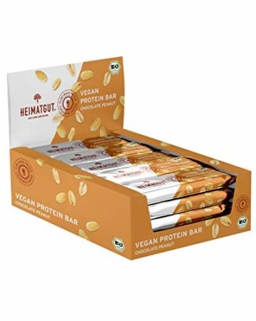 HEIMATGUT® Bio Vegan Protein Bar Schokolade Erdnuss | Vegane Protein-Riegel mit 20% pflanzlichem Protein aus Erbsen & Reis | Gesunder Protein-Snack | Glutenfrei & Ohne Künstliche Zusätze (12 x 40g) - 1