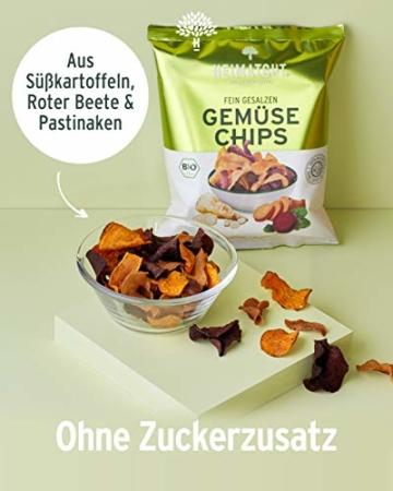 HEIMATGUT® Bio Gemüse Chips | Ballaststoffreiche & Vegane Chips aus Süßkartoffel, Roter Beete & Pastinake | Ohne Konservierungsstoffe | Ohne Palmöl & Gentechnik | Ohne Künstliche Zusätze (6 x 100g) - 3