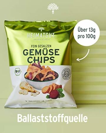 HEIMATGUT® Bio Gemüse Chips | Ballaststoffreiche & Vegane Chips aus Süßkartoffel, Roter Beete & Pastinake | Ohne Konservierungsstoffe | Ohne Palmöl & Gentechnik | Ohne Künstliche Zusätze (6 x 100g) - 4