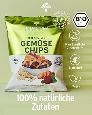 HEIMATGUT® Bio Gemüse Chips | Ballaststoffreiche & Vegane Chips aus Süßkartoffel, Roter Beete & Pastinake | Ohne Konservierungsstoffe | Ohne Palmöl & Gentechnik | Ohne Künstliche Zusätze (6 x 100g) - 5